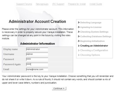 adminaccount creation